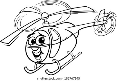 Black and White Cartoon Vector Illustration of Funny Helicopter or Chopper Comic Mascot Character for Coloring Book