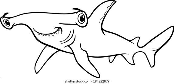 Black and White Cartoon Vector Illustration of Hammerhead Shark Fish Sea Life Animal for Coloring Book