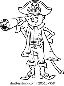 Black and White Cartoon Vector Illustration of Funny Pirate or Corsair Captain Boy with Spyglass and Jolly Roger Sign for Coloring Book