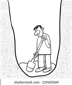Black and White Cartoon Vector Illustration of Funny Man Digging a Big Hole for Coloring Book
