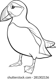 Black and White Cartoon Vector Illustration of Atlantic Puffin Bird for Coloring Book