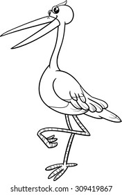 Black and White Cartoon Vector Illustration of Stork Bird Animal Character for Coloring Book