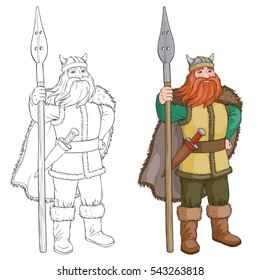 Black and White Cartoon Vector Illustration of Viking or Knight. Coloring book or page of isolated Viking.