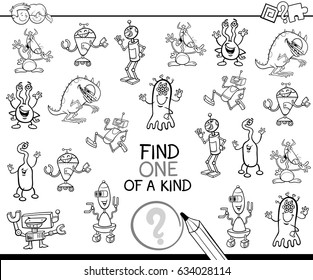 Black and White Cartoon Vector Illustration of Find One of a Kind Educational Activity Game for Children with Fantasy Characters Coloring Page