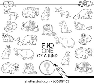 Black and White Cartoon Vector Illustration of Find One of a Kind Educational Activity for Children with Wild Animal Characters Coloring Page