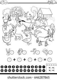 Black and White Cartoon Vector Illustration of Educational Mathematical Activity Game for Children with Farm Animal Characters Coloring Page