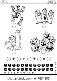 Black and White Cartoon Vector Illustration of Educational Mathematical Activity Game for Children with Object and Vehicle Characters Coloring Page