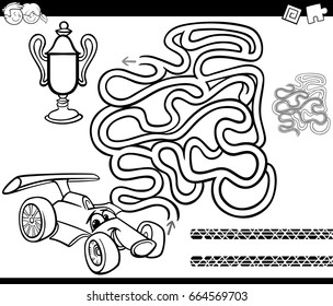 Black and White Cartoon Vector Illustration of Education Maze or Labyrinth Game for Children with Racing Car and Cup Coloring Page