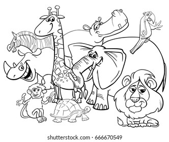 Black and White Cartoon Vector Illustration of Safari Wild Animal Characters Group Coloring Book
