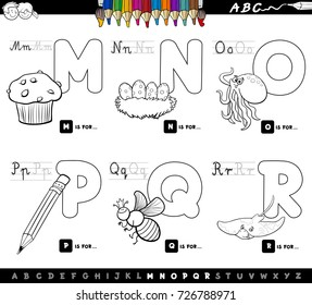 1f57ea69222 Black and White Cartoon Vector Illustration of Capital Letters Alphabet  Educational Set for Reading and Writing