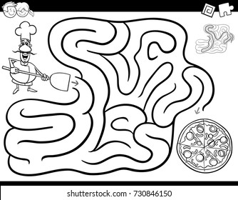 Black and White Cartoon Vector Illustration of Education Maze or Labyrinth Activity Game for Children with Chef Character and Pizza Coloring Book