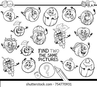 Black and White Cartoon Vector Illustration of Finding Two Identical Pictures Educational Game for Children with Fruits Comic Characters Coloring Book