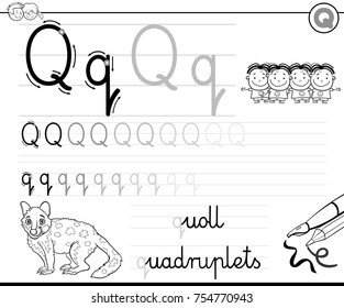 Black and White Cartoon Vector Illustration of Writing Skills Practice with Letter Q Worksheet for Preschool and Elementary Age Children Coloring Book