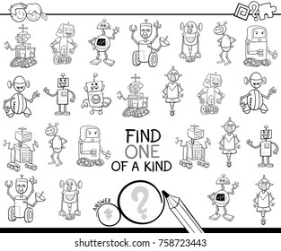 Black and White Cartoon Vector Illustration of Find One of a Kind Educational Activity Game for Children with Robots Machines Characters Coloring Book