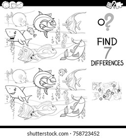 Black and White Cartoon Vector Illustration of Finding Differences Between Pictures Educational Activity Game with Fish Animal Characters in the Sea Coloring Book