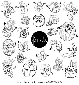 Black and White Cartoon Vector Illustration of Fruits Comic Food Characters Big Set Color Book