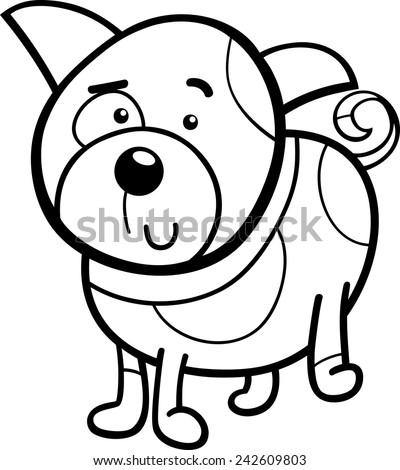 Black White Cartoon Vector Illustration Cute Stock Vector Royalty