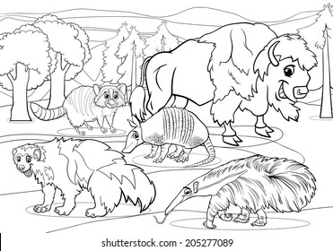 Black and White Cartoon Vector Illustrations of Funny American Mammals Animals Characters Group for Coloring Book