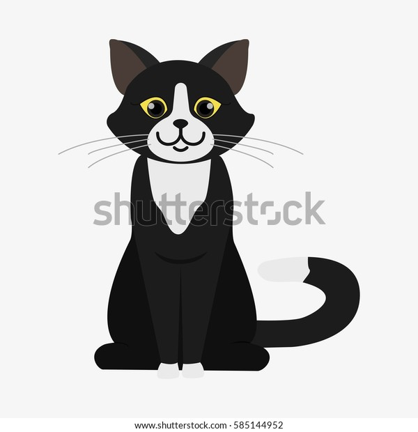 black and white cat characters black white cat cartoon character domestic stock vector