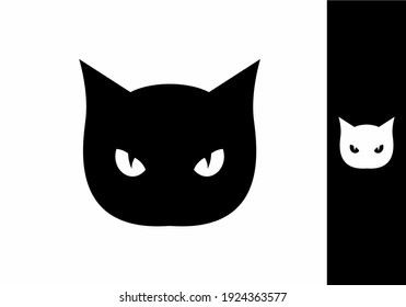 Black and white cat head with eyes design