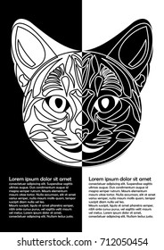 Black and white cat head in inverse leaflet design. Ornamental cat face in tattoo style. Place for own message. Vector EPS 10