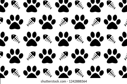 Black and white Cat paw and fishbone silhouette icon pattern background illustration in vector.