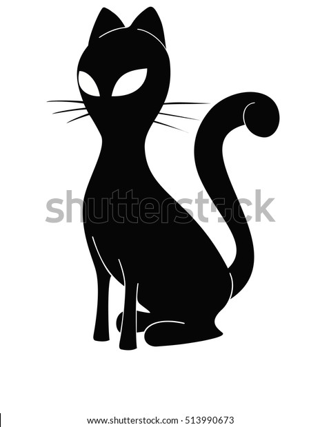 Black White Cat Silhouette Tattoo Design Stock Vector Royalty Free