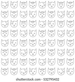 Black and white cats faces kitten animal seamless vector pattern doodles
