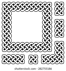 Black and white Celtic knot frame and design elements, vector illustration (sharp corners)