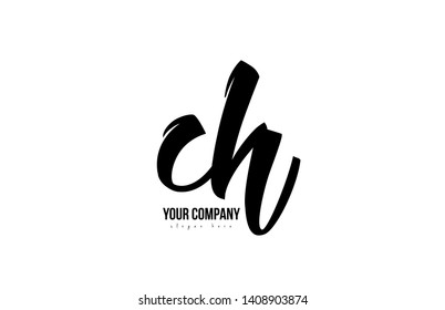 black and white ch c h alphabet letter combination suitable as a logo icon design for a company or business