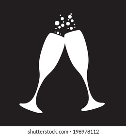 black and white champagne glasses with bubbles