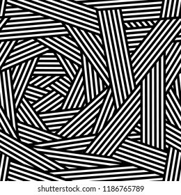 Black and white chaotic striped geometric seamless pattern, vector