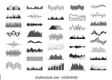 Black and white charts and sound waves indicators isolated on white background. Big set of graphic images. Data display vector illustrations. Information visualization with computer program.