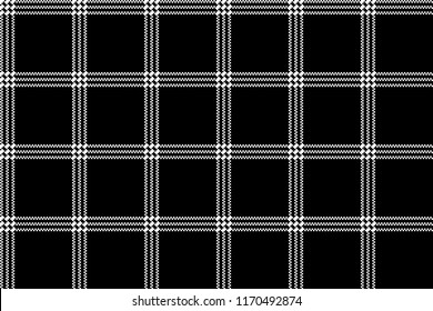 Black white check fabric texture simple seamless pattern. Vector illustration.