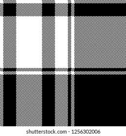 Black white check pixel pattern seamless plaid. Vector illustration.