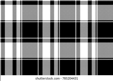 Black white check pixel pattern seamless plaid. Vector illustration.