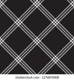 Black white check plaid fabric texture seamless pattern. Vector illustration.