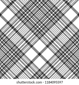 Black and white check plaid seamless fabric texture. Vector illustration.