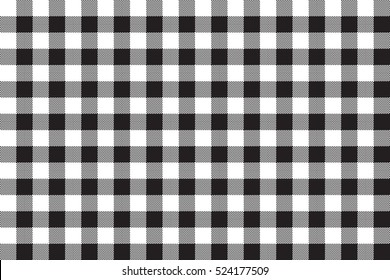 Black white checkerboard check seamless background. Vector illustration.