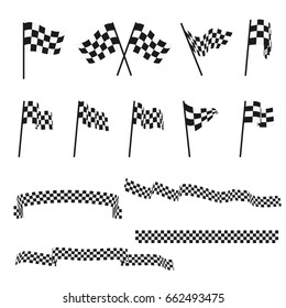 Black and white checkered auto racing flags and finishing tape vector set. Sport flag for competition race, winner check flag illustration