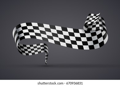 Black and white checkered curved flag or ribbon, sport banner on dark background. JPG include isolated path. eps10