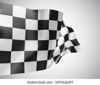 black and white checkered flag, 3d mash on a white background