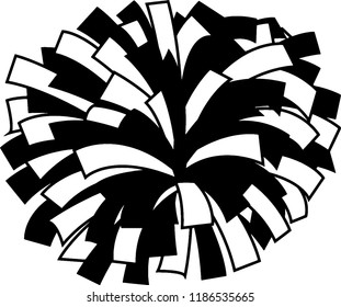 Black and white cheerleader pom-pom
