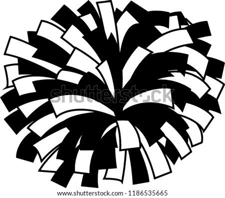 Black White Cheerleader Pompom Stock Vector Royalty Free