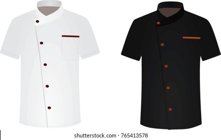 Black and white chef shirt. cook uniform. vector illustration