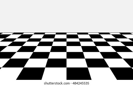 Black and white chess board in different perspective.