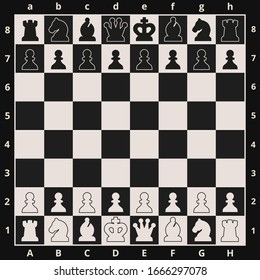 Black and white chess board and chess pieces. Chess pieces in flat style.