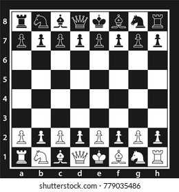 Black and white chess board with chess pieces. Chess pieces in flat style. Vector illustration