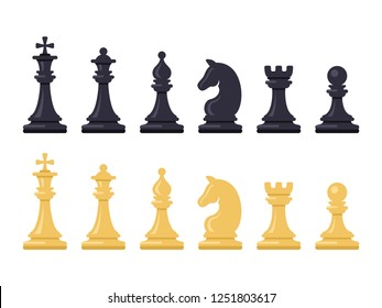 Black and White Chess Game Figures. Vector