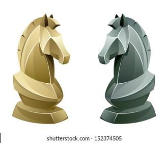 Black and white chess knight